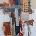 abstract, blues, browns, collage