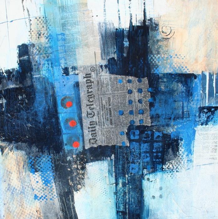 collage, mixed media, journal, blues, blacks
