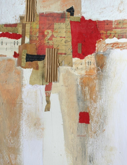 red, beige black, abstract