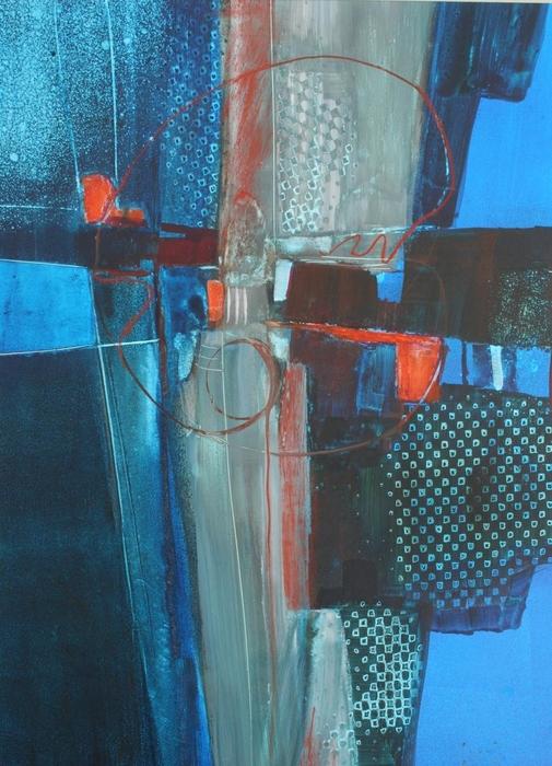 Blues, abstract, cruciform, design