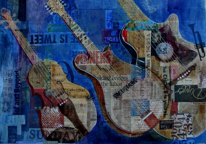 collage, text, painting on text, guitars