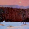 evening, snow, winter, serene