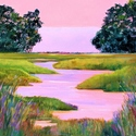 acrylic, gallery wrapped canvas, marshes, wetlands, pinks, greens