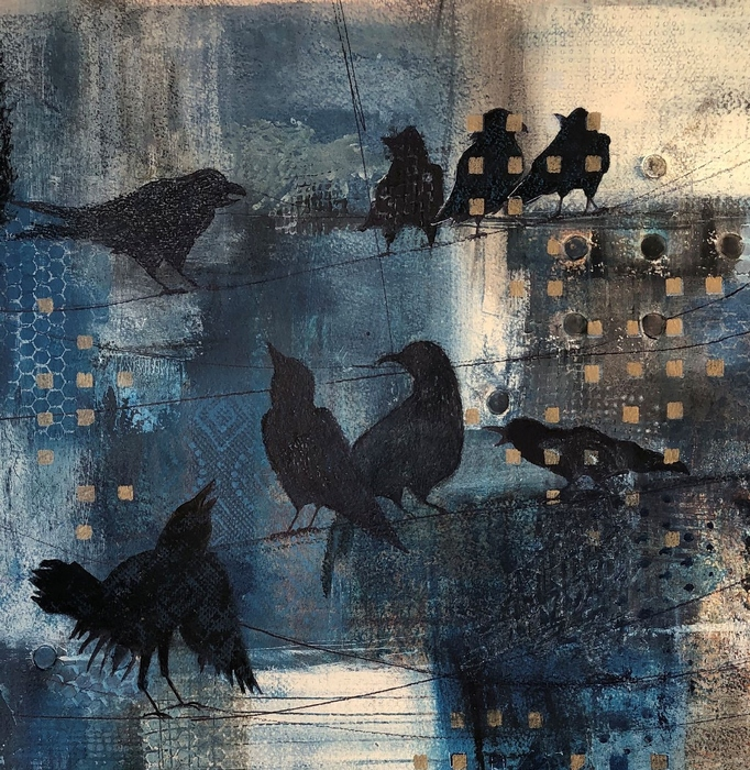 crows, blues, black, abstract