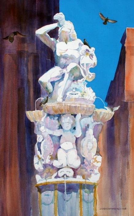 Italy, Noto, Statue, fountain, Sicily